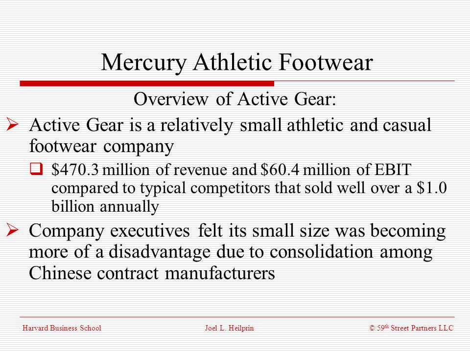Mercury Athletic Footwear: Valuing the Opportunity