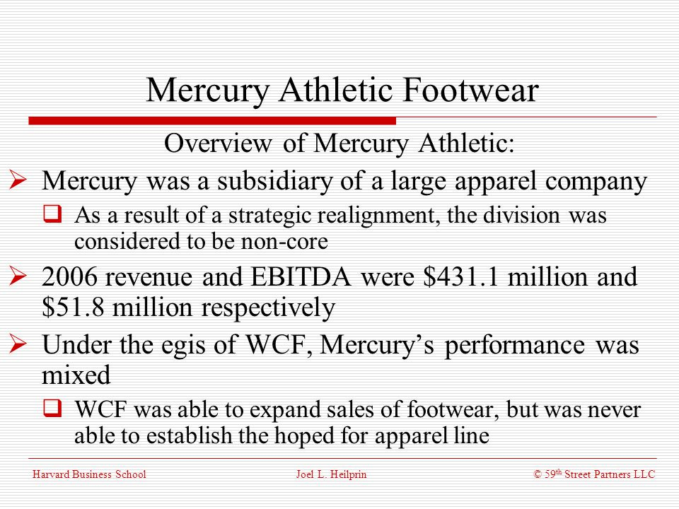 mercury athletic footwear case This case is about mercury athletic: valuing the opportunity get your mercury athletic: valuing the opportunitycase solution.