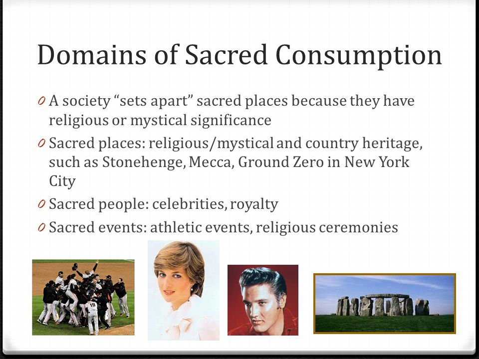 Domains of Sacred Consumption