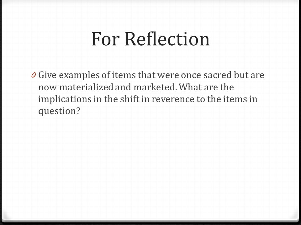For Reflection