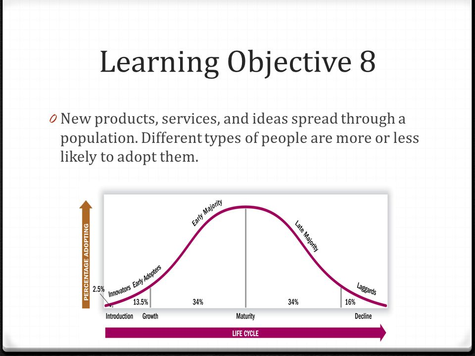 Learning Objective 8 New products, services, and ideas spread through a population.