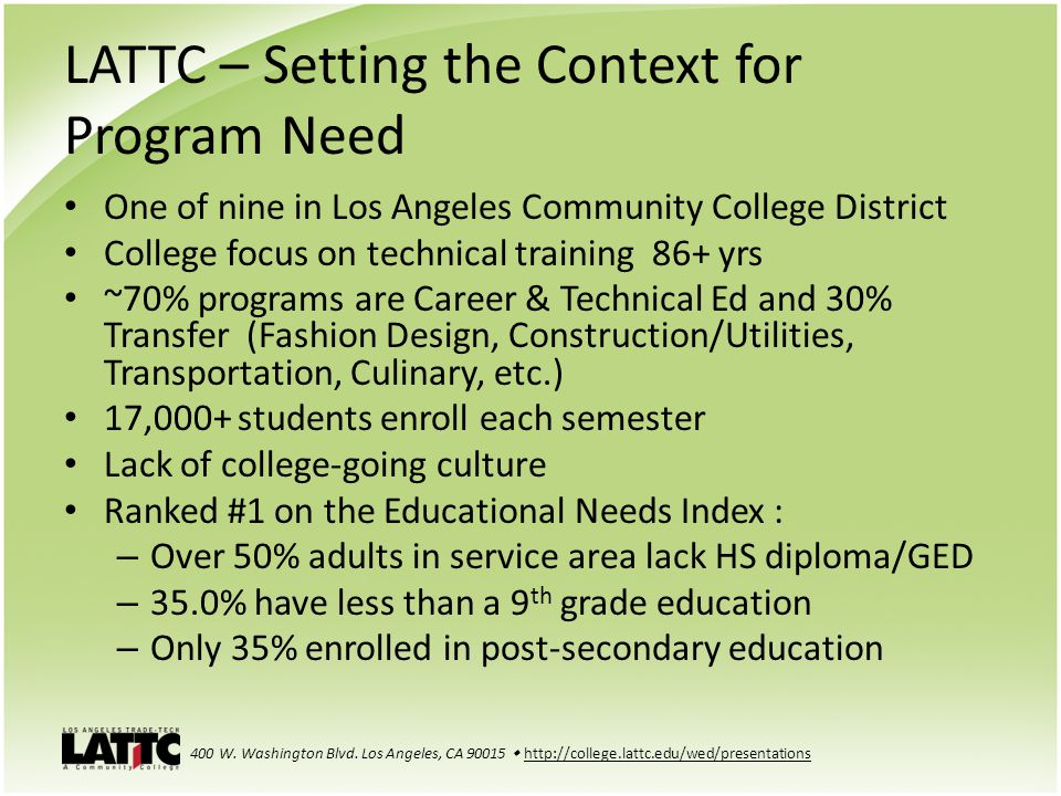 LATTC – Setting the Context for Program Need