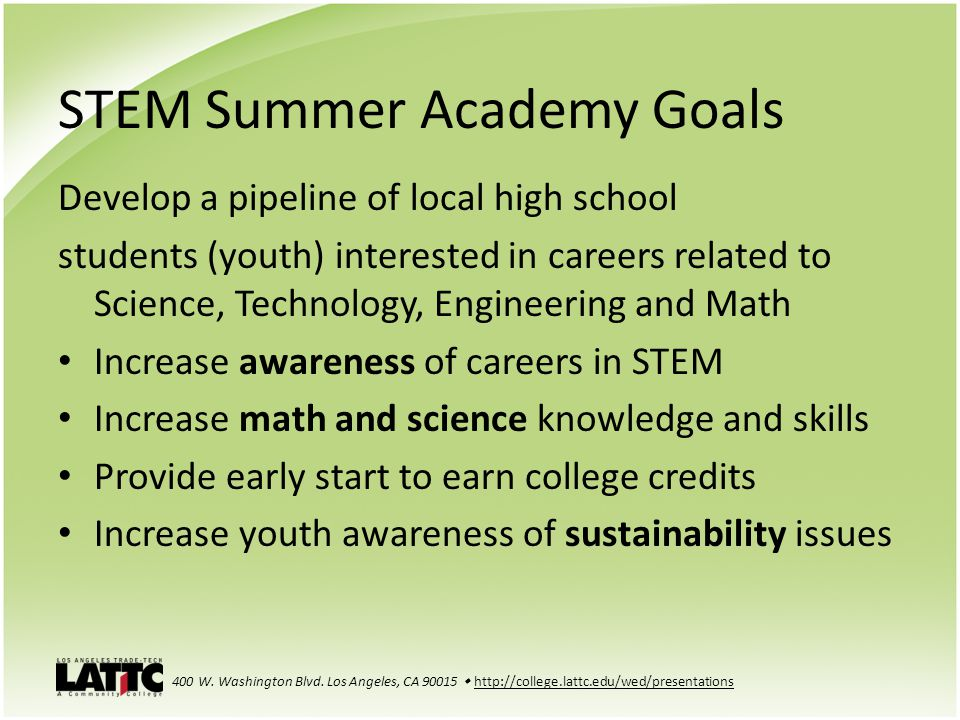STEM Summer Academy Goals