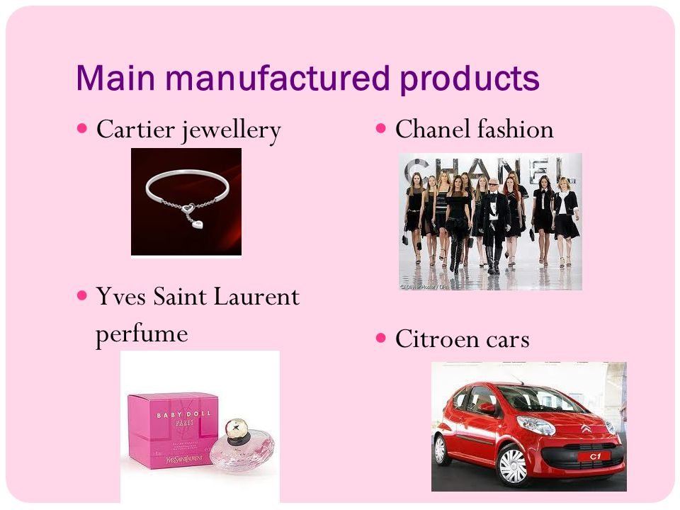 Main manufactured products