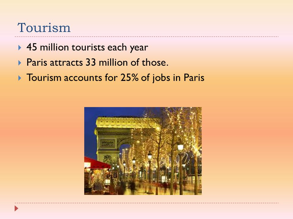 Tourism 45 million tourists each year