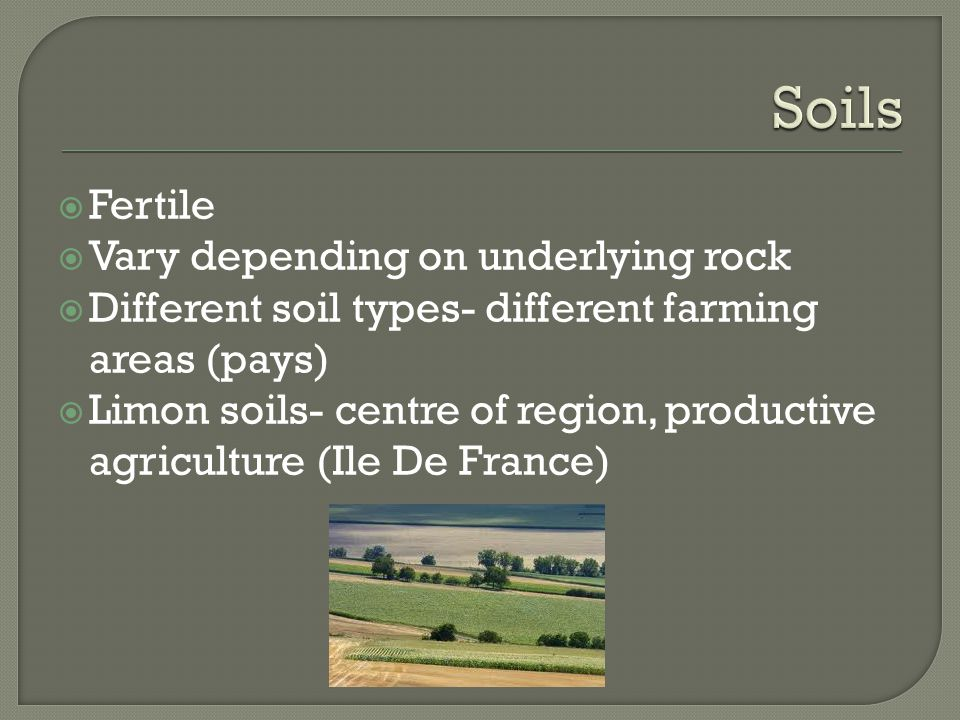 Soils Fertile Vary depending on underlying rock
