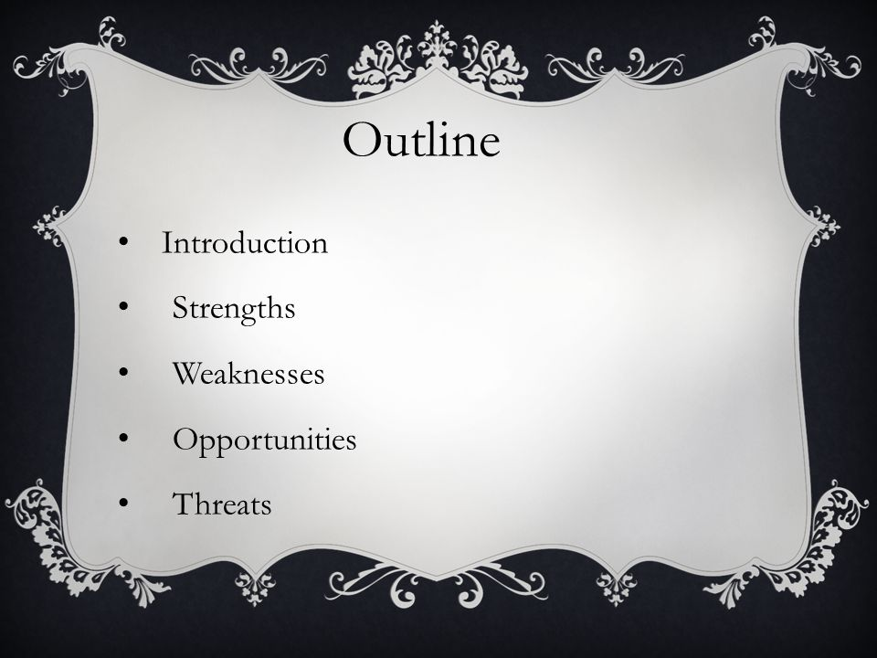 Outline Introduction Strengths Weaknesses Opportunities Threats