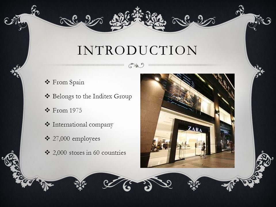 Introduction From Spain Belongs to the Inditex Group From 1975