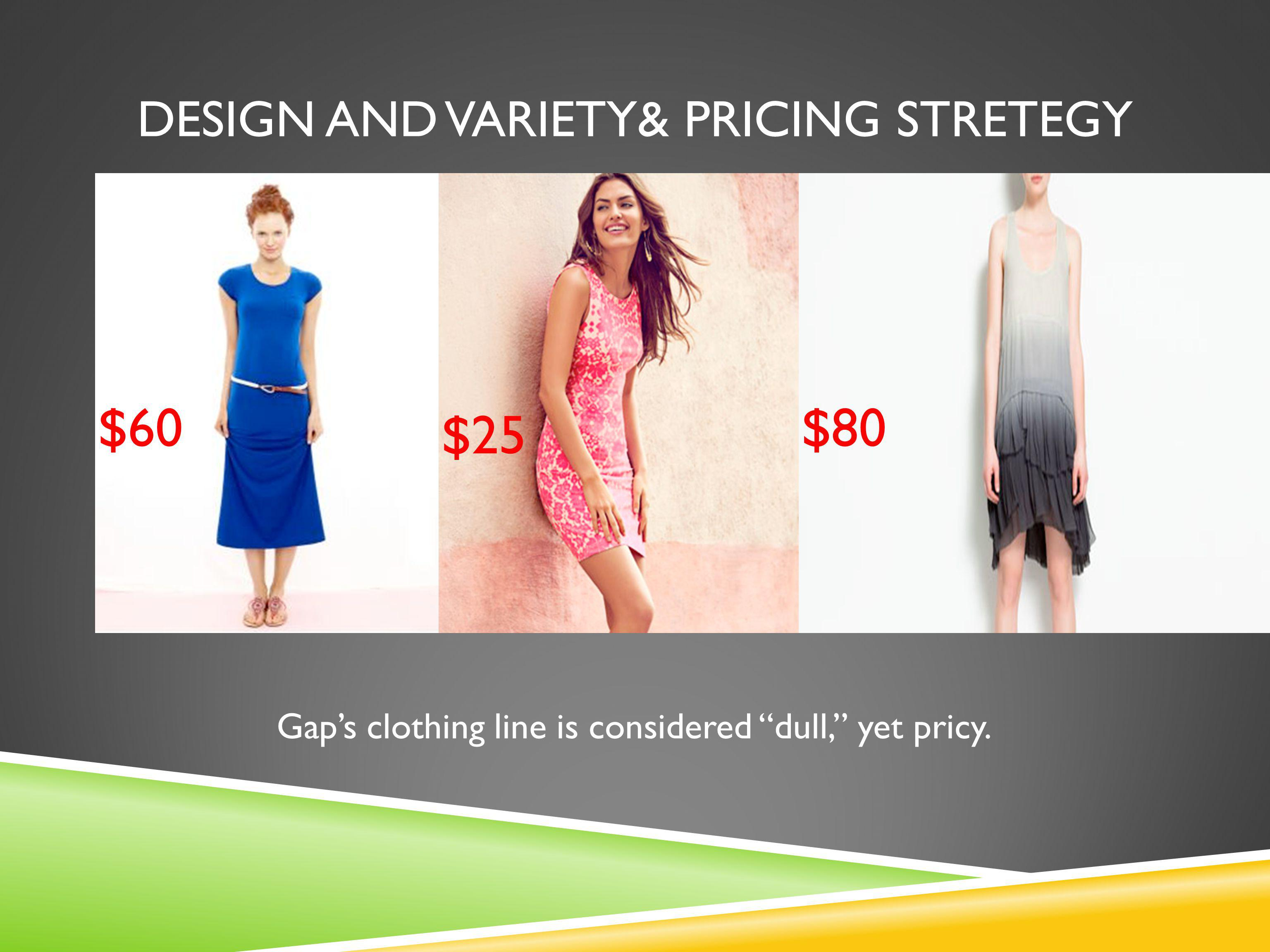 Design AND VARIETY& Pricing stretegy