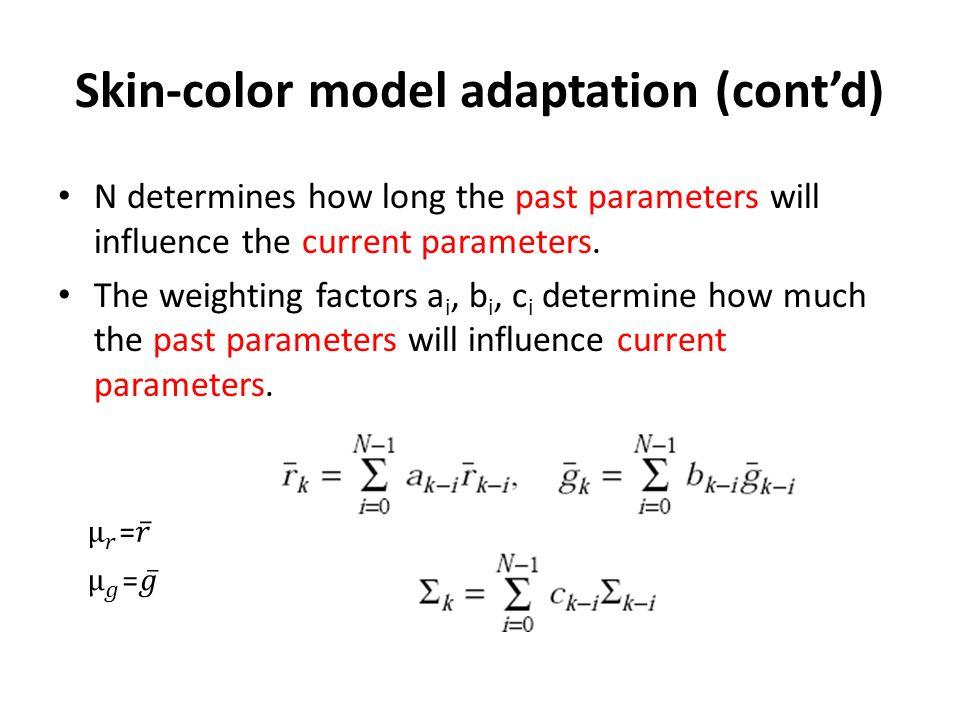 Skin-color model adaptation (cont'd)