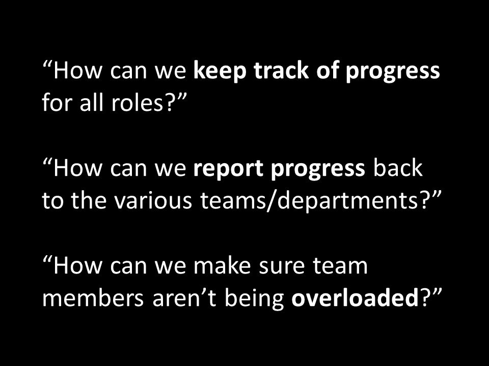 How can we keep track of progress for all roles