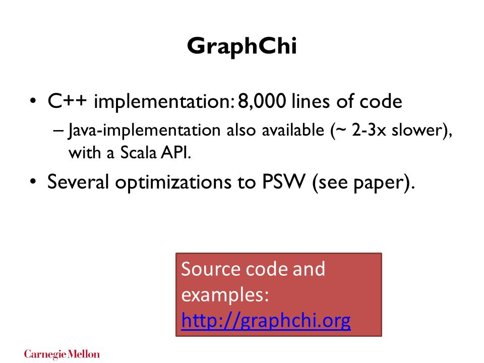 GraphChi C++ implementation: 8,000 lines of code