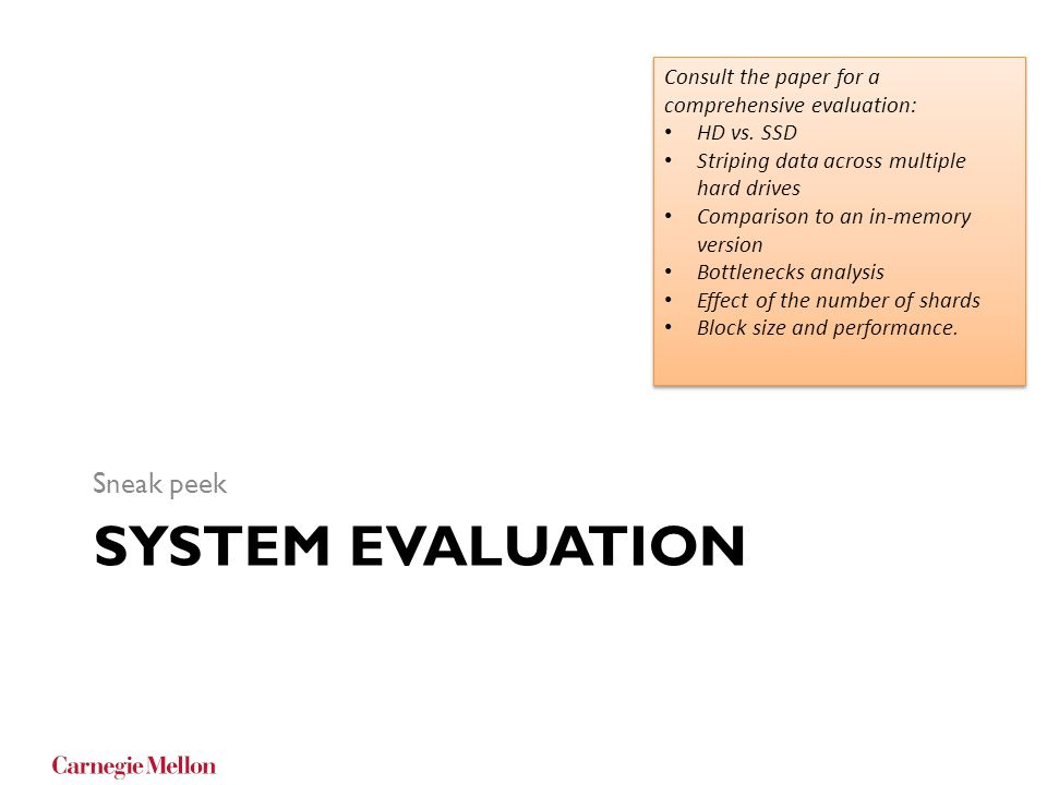 system evaluation Sneak peek