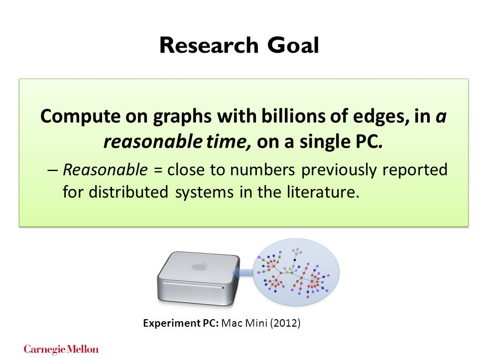 Research Goal Compute on graphs with billions of edges, in a reasonable time, on a single PC.