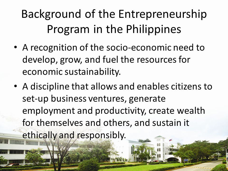 Background of the Entrepreneurship Program in the Philippines