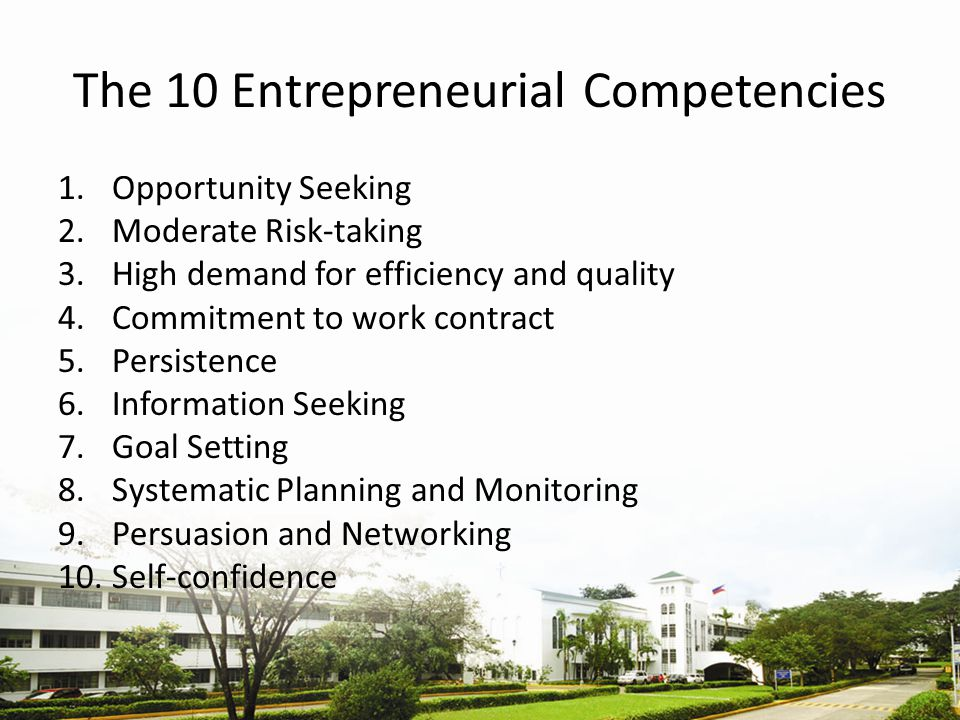 The 10 Entrepreneurial Competencies