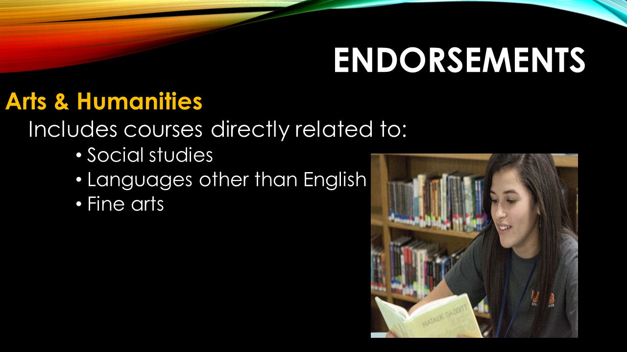 Endorsements Arts & Humanities Includes courses directly related to: