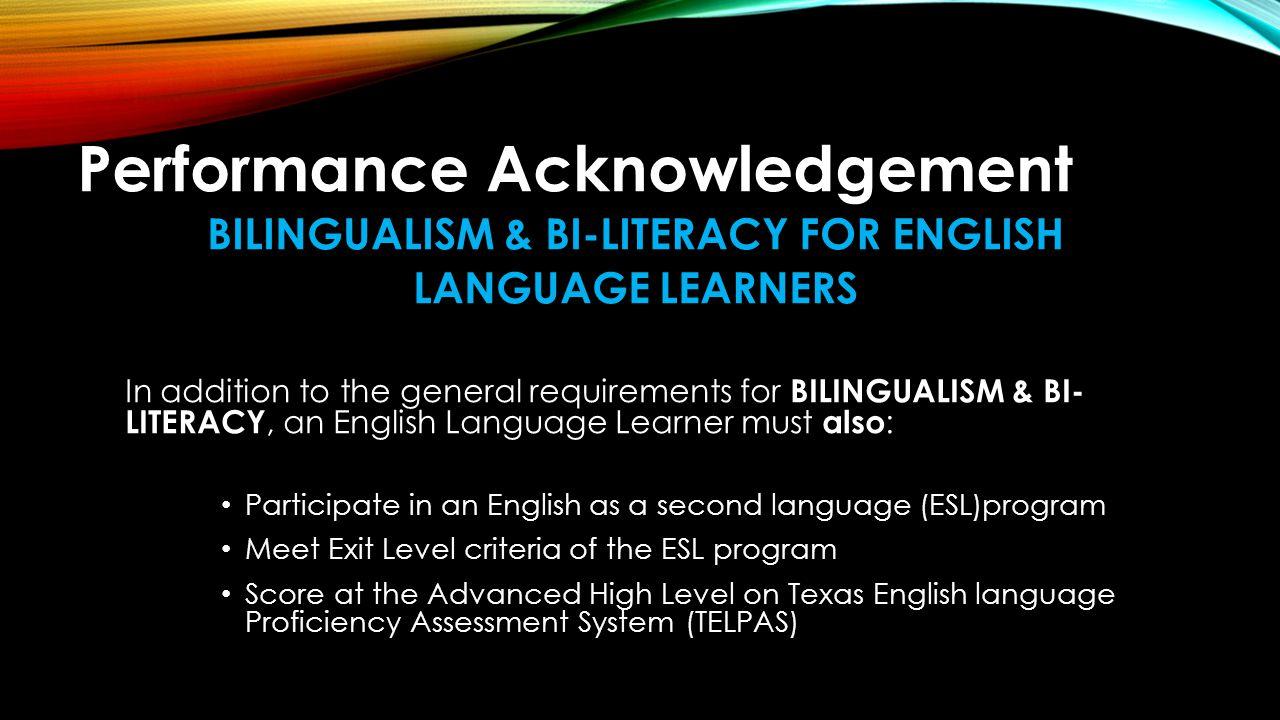 BILINGUALISM & BI-LITERACY FOR ENGLISH