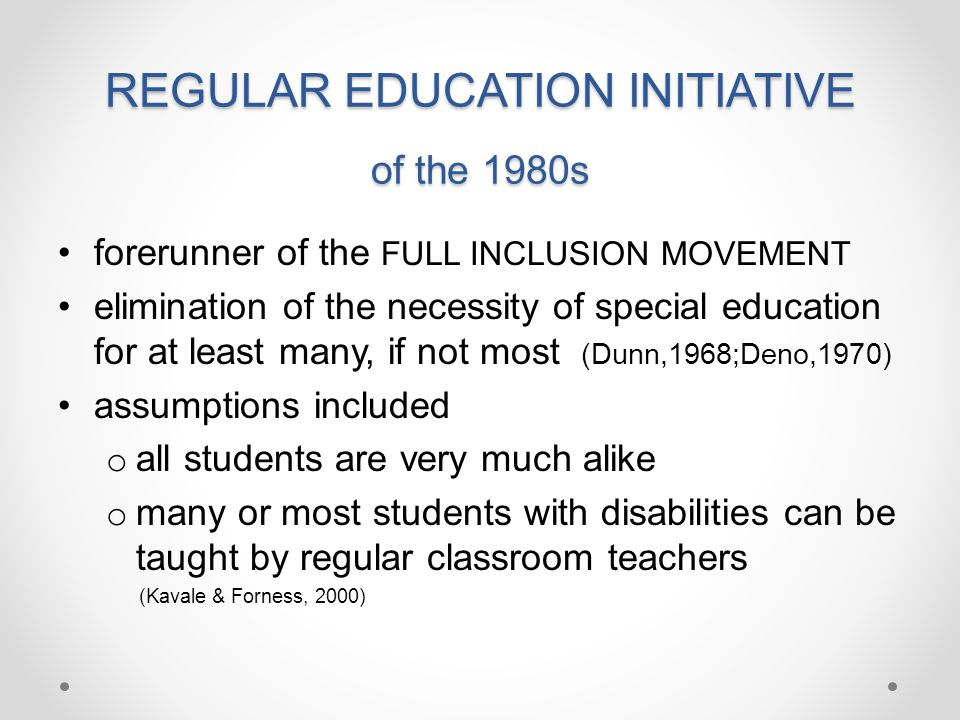 REGULAR EDUCATION INITIATIVE of the 1980s