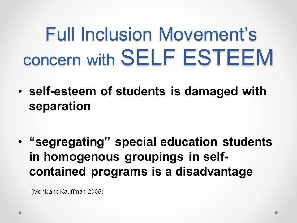 Full Inclusion Movement's concern with SELF ESTEEM