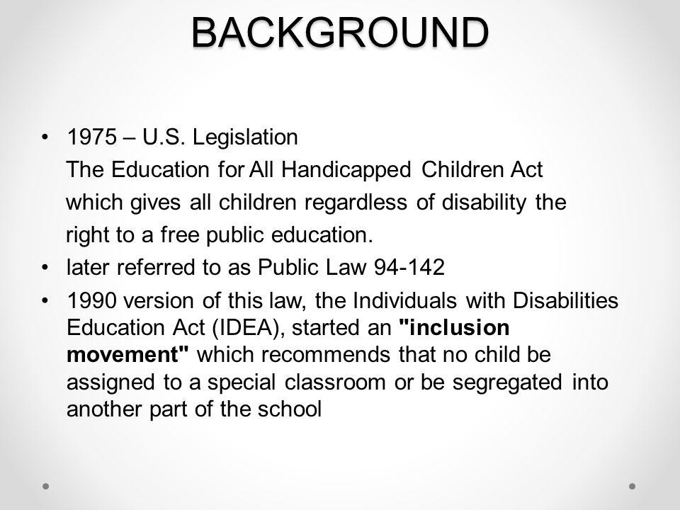 BACKGROUND 1975 – U.S. Legislation