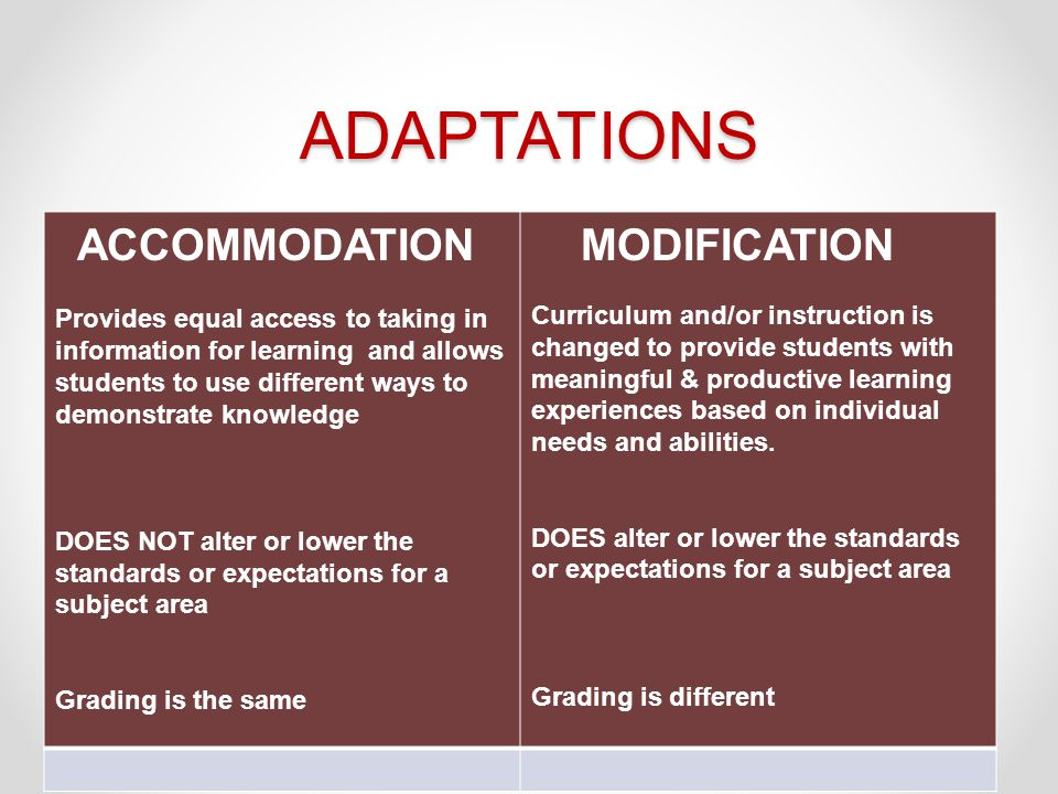 ADAPTATIONS MODIFICATION ACCOMMODATION