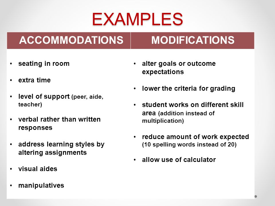 EXAMPLES MODIFICATIONS ACCOMMODATIONS seating in room extra time