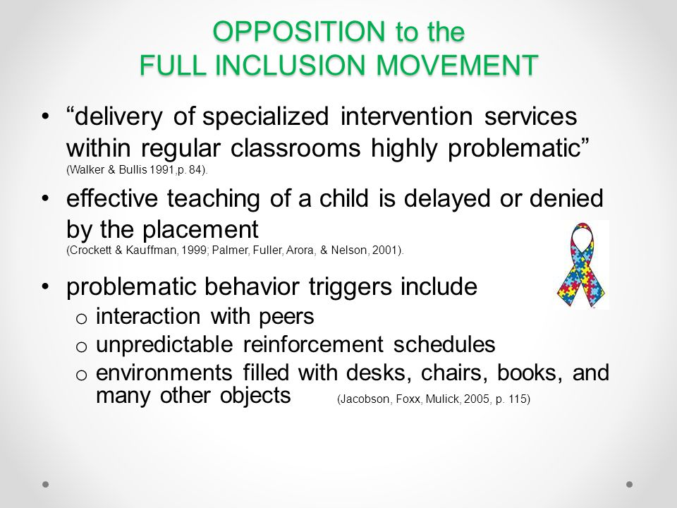 OPPOSITION to the FULL INCLUSION MOVEMENT