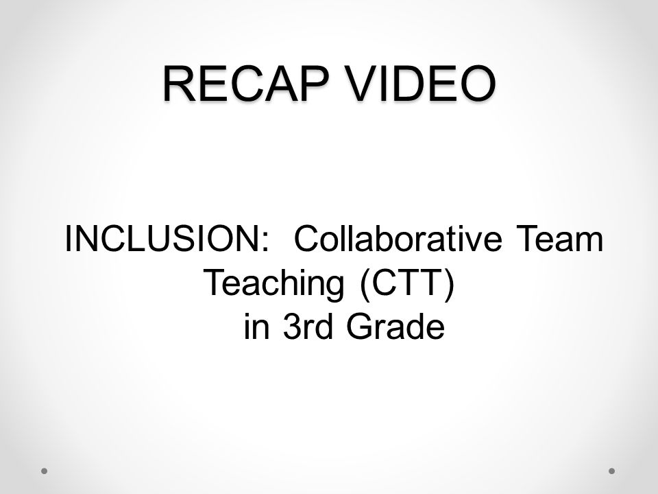 INCLUSION: Collaborative Team Teaching (CTT) in 3rd Grade