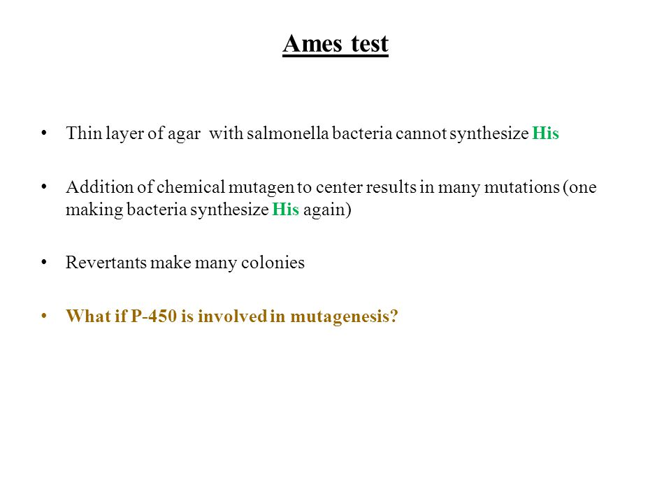 Ames test Thin layer of agar with salmonella bacteria cannot synthesize His.