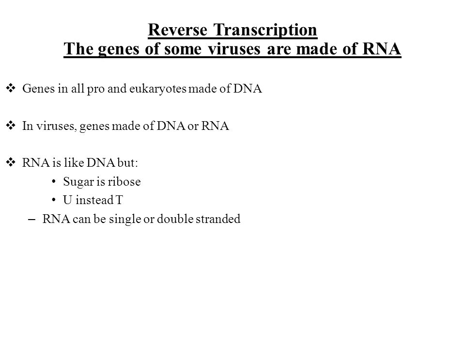 The genes of some viruses are made of RNA