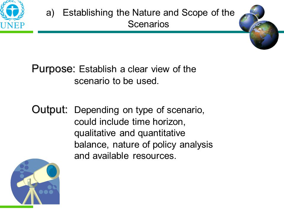 Establishing the Nature and Scope of the Scenarios