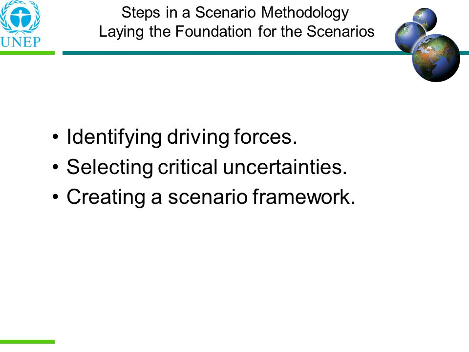 Identifying driving forces. Selecting critical uncertainties.