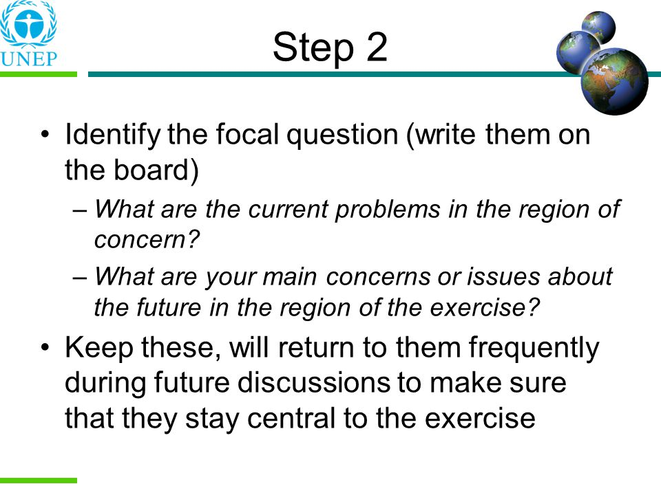 Step 2 Identify the focal question (write them on the board)