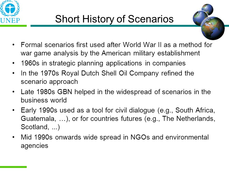 Short History of Scenarios