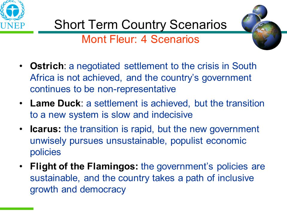 Short Term Country Scenarios Mont Fleur: 4 Scenarios