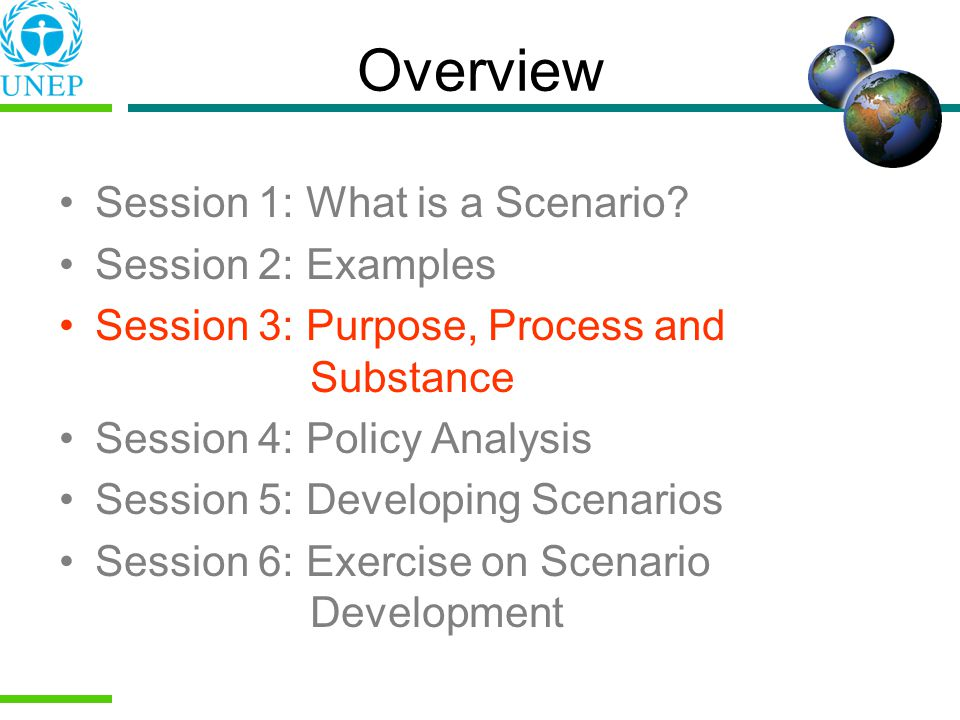 Overview Session 1: What is a Scenario Session 2: Examples