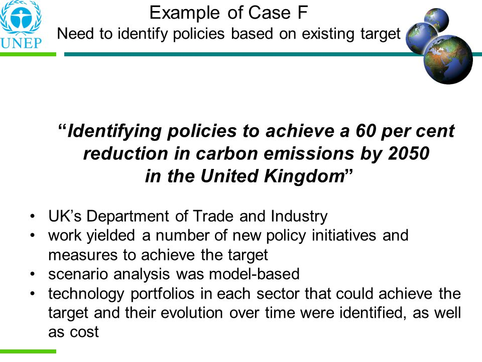 Example of Case F Need to identify policies based on existing target