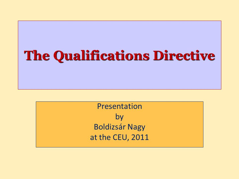 The Qualifications Directive