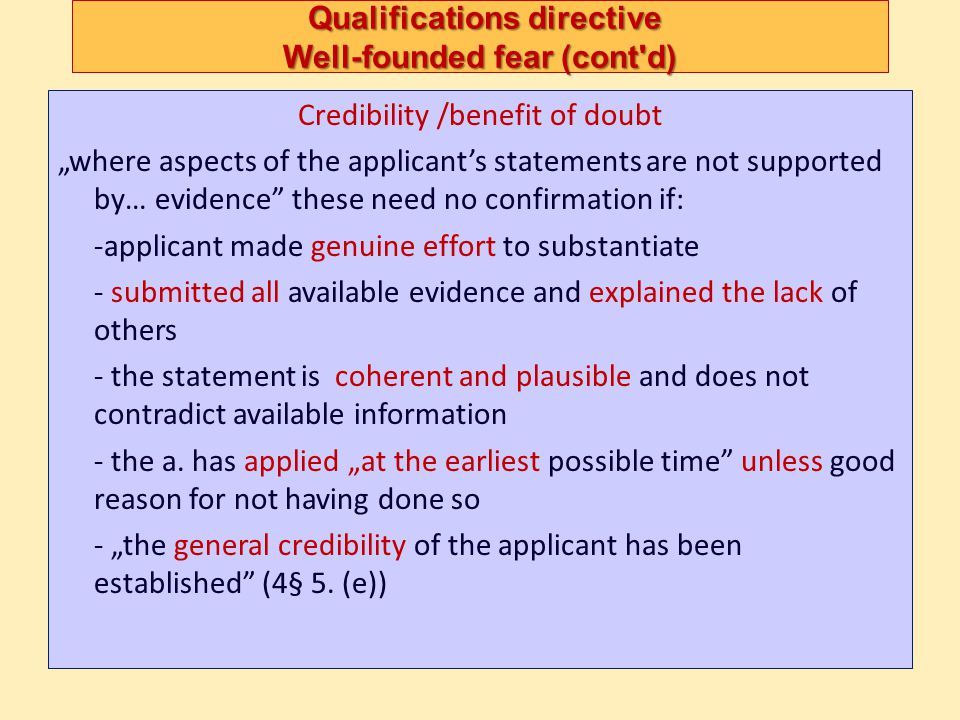 Qualifications directive Well-founded fear (cont d)