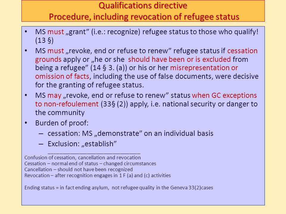 Qualifications directive Procedure, including revocation of refugee status