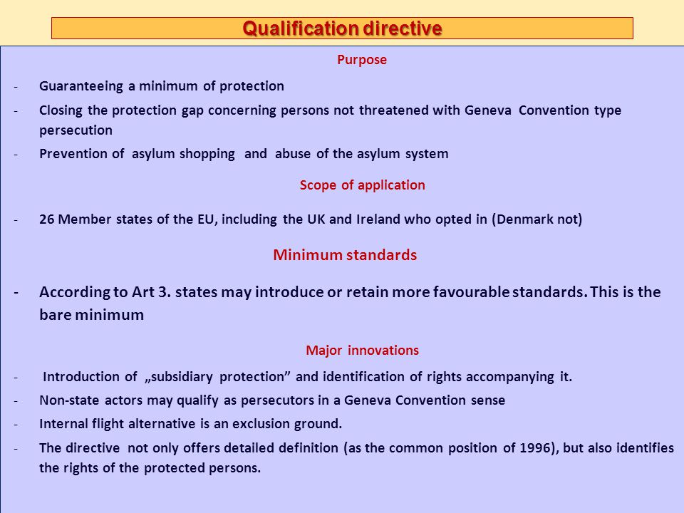 Qualification directive