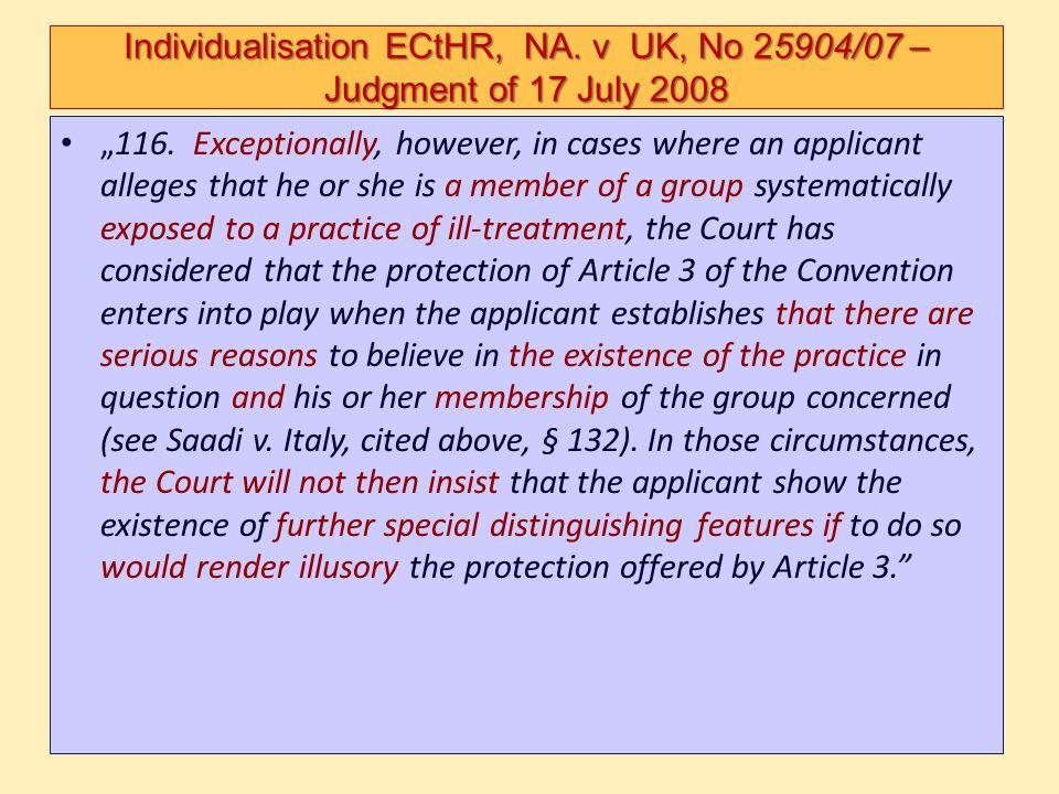 Individualisation ECtHR, NA