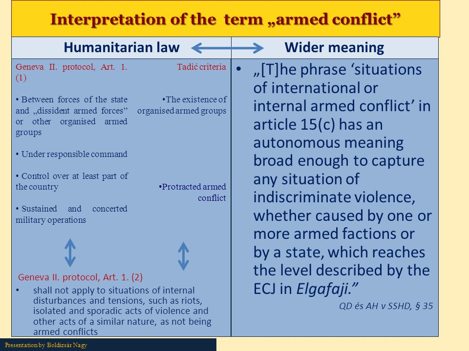 "Interpretation of the term ""armed conflict"