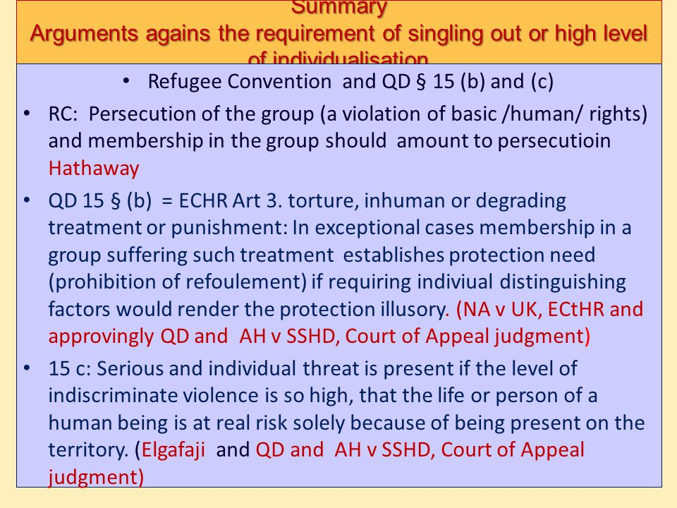 Refugee Convention and QD § 15 (b) and (c)