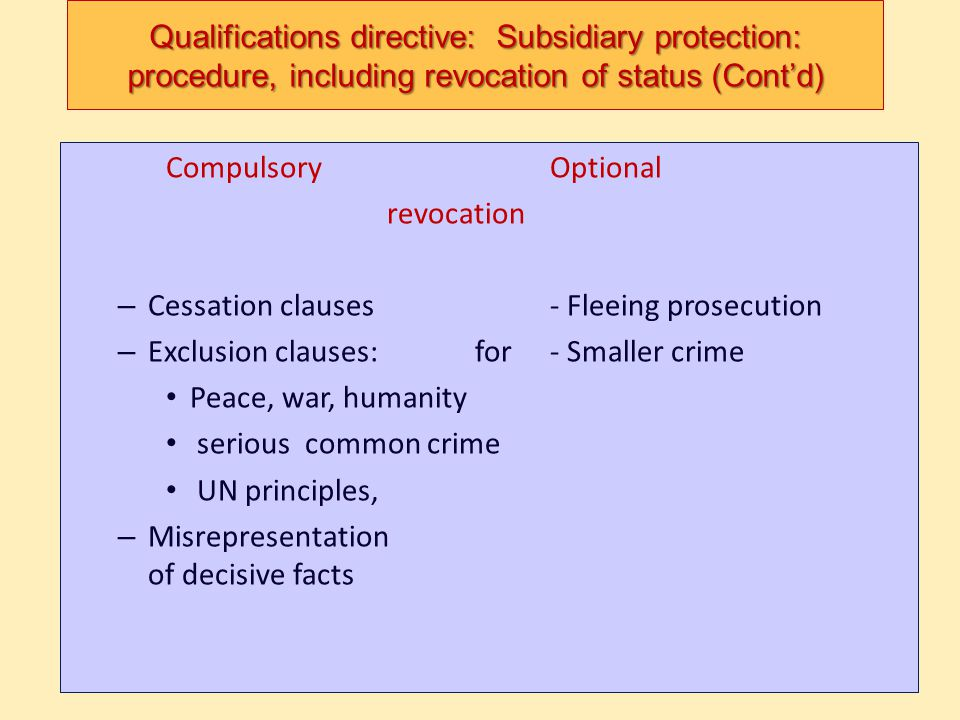 Qualifications directive: Subsidiary protection: procedure, including revocation of status (Cont'd)