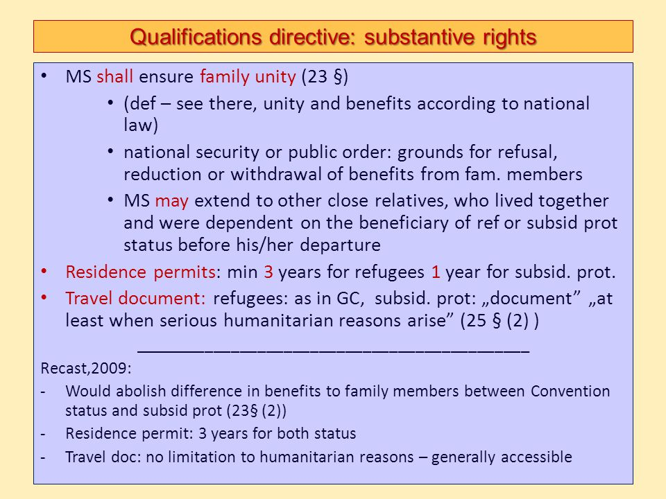Qualifications directive: substantive rights