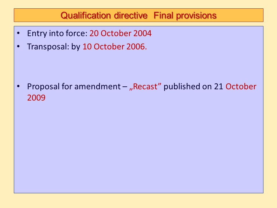 Qualification directive Final provisions