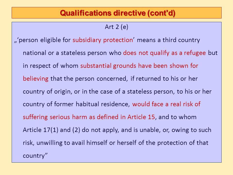 Qualifications directive (cont d)