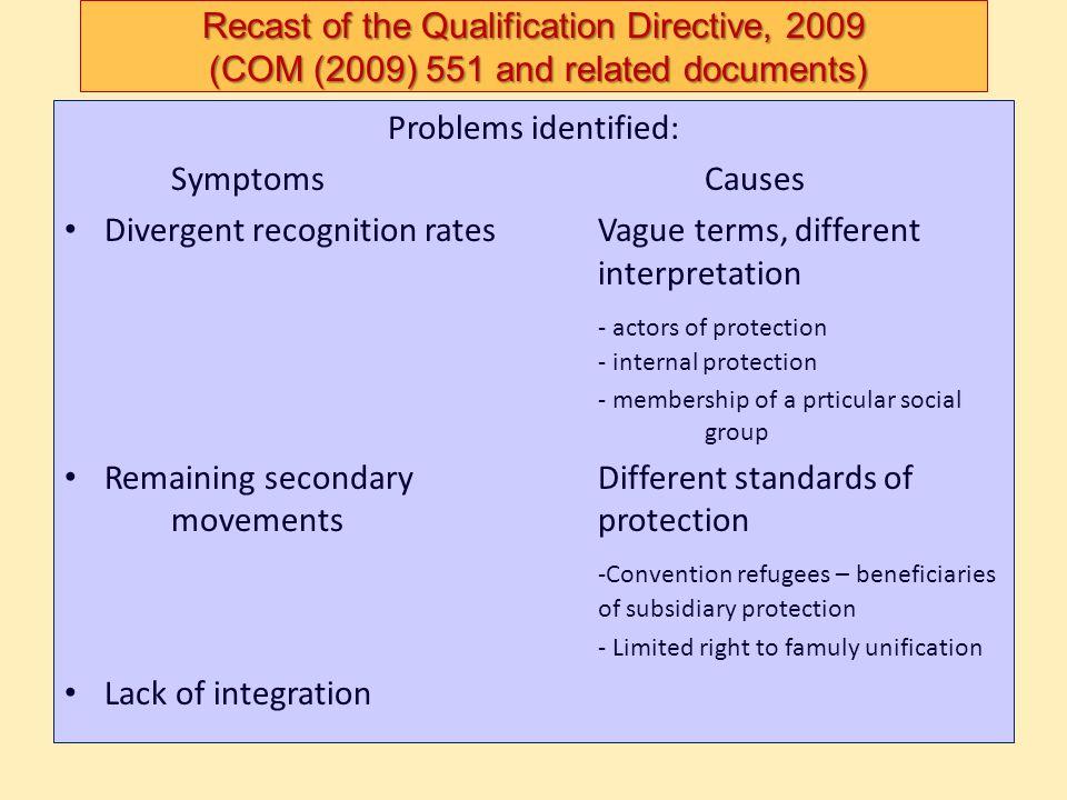Divergent recognition rates Vague terms, different interpretation